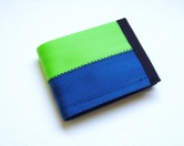 Billfold wallet in lime and blue.